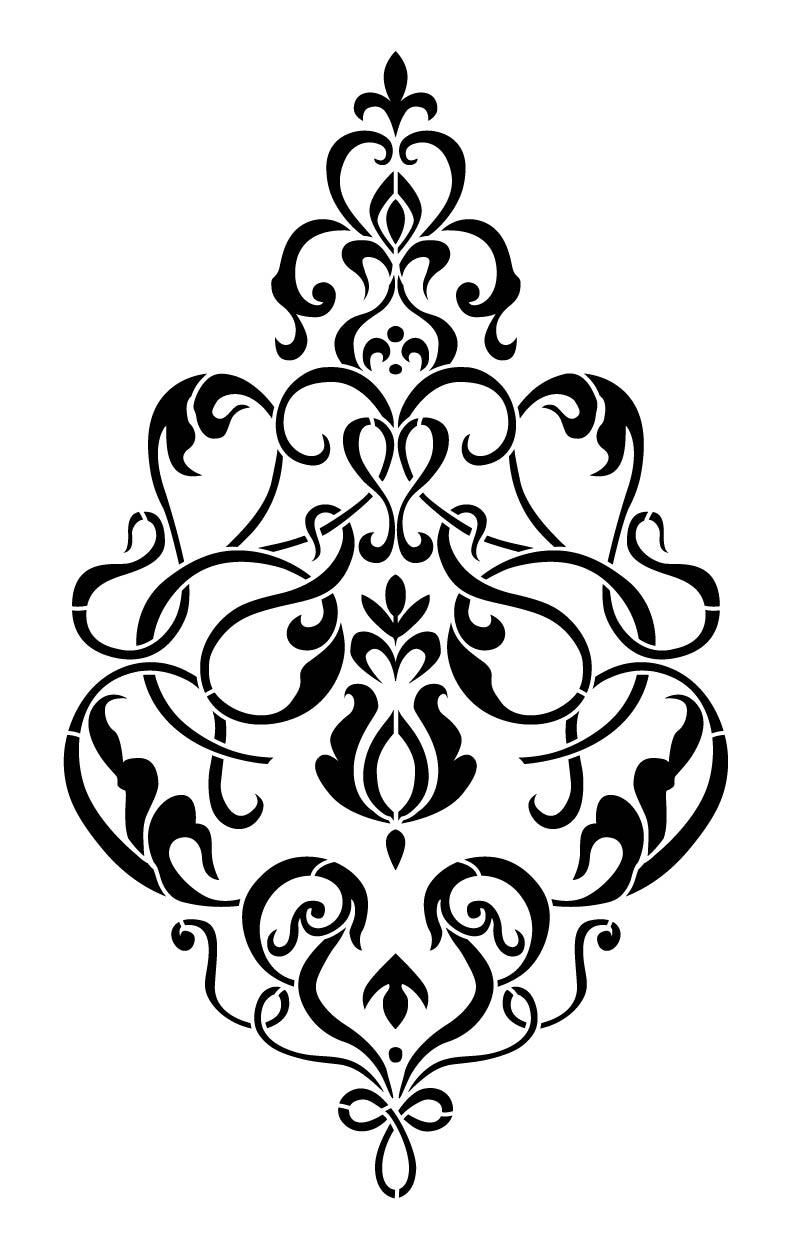 792x1250 Valentino Damask Stencil 12x18