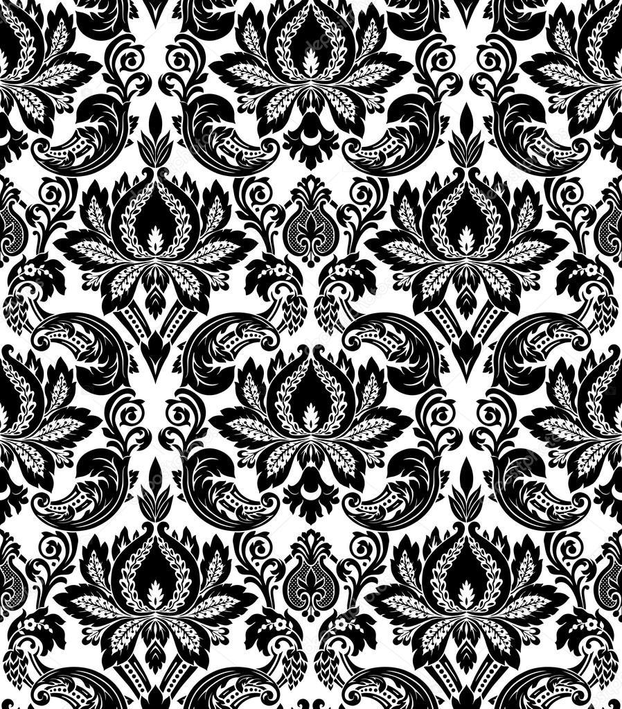 898x1023 Vector. Seamless Damask Pattern Stock Vector Gromaler