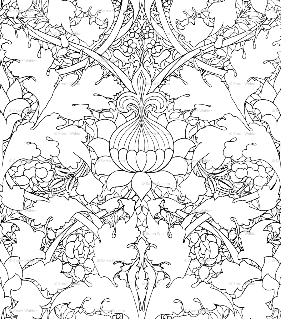 899x1021 William Morris ~ Growing Damask ~ Black And White ~ Color Your Own