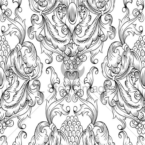 500x500 Black Damask Seamless Pattern. Hand Drawn Ornamental Elem Gl