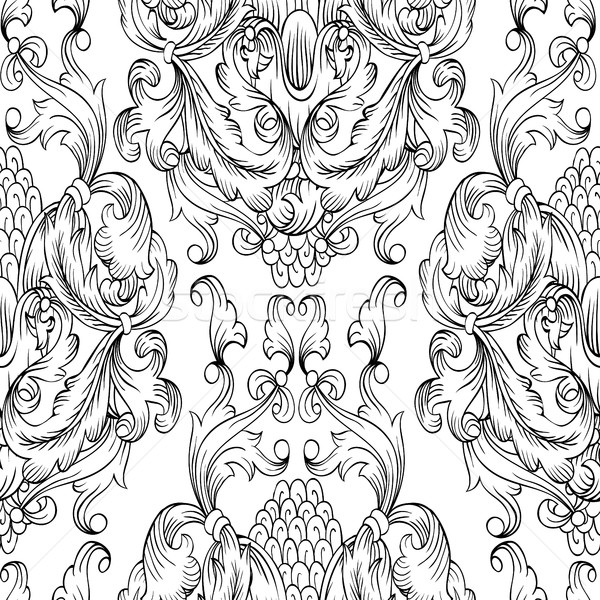 600x600 Black Damask Seamless Pattern. Hand Drawn Ornamental Element. Se