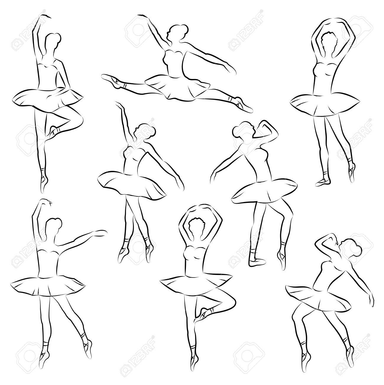 1299x1300 Ballet Outline Ballerina Dancer Figure Royalty Free Cliparts
