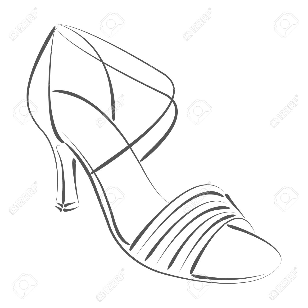 1300x1300 Elegant Sketched Woman's Shoe. Salsa Dance Shoes. Design Template