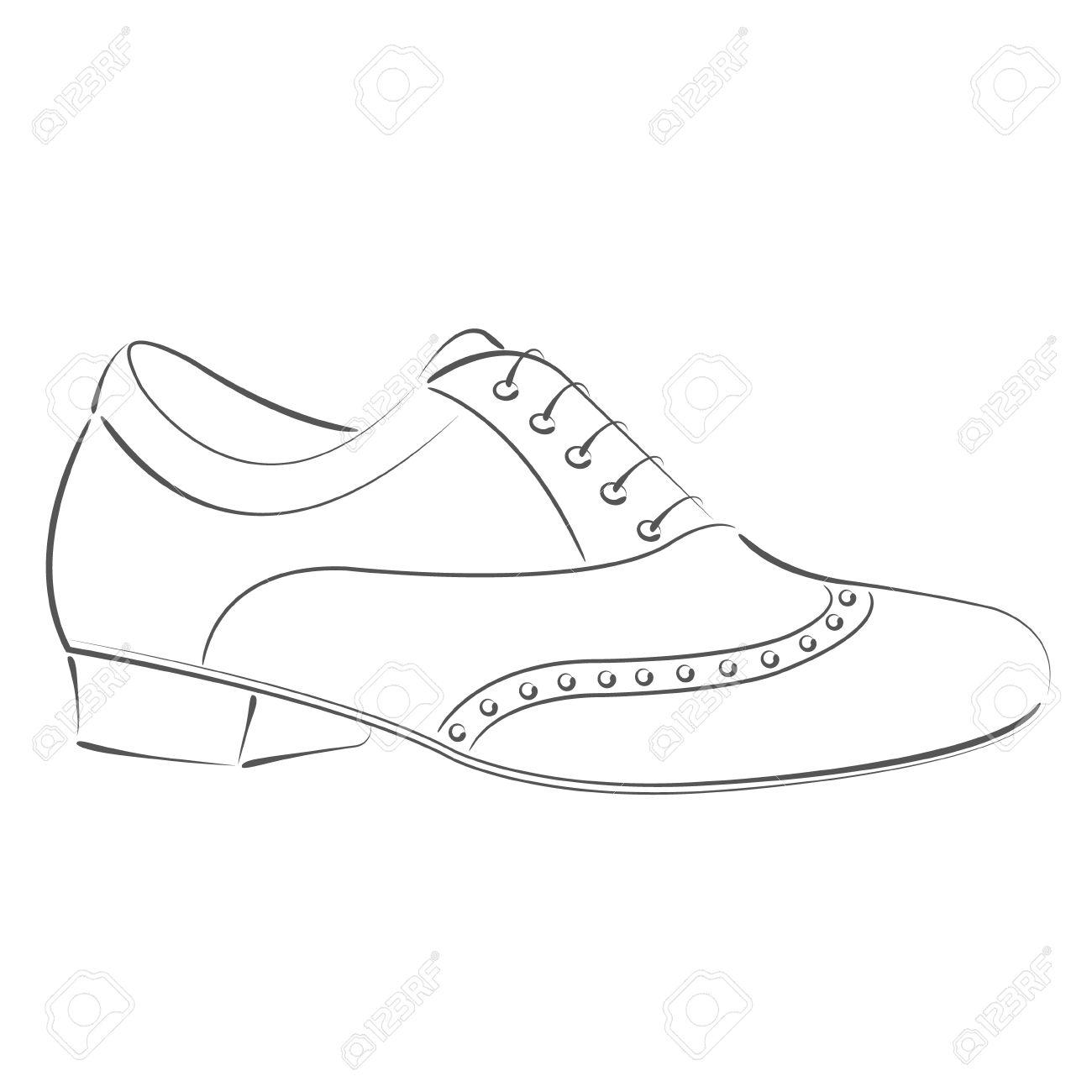 1300x1300 Elegant Sketched Man's Shoe. Argentine Tango Dance Shoes. Design