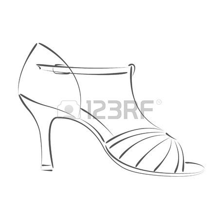 450x450 Elegant Sketched Woman's Shoe. Salsa Dance Shoes. Design Template