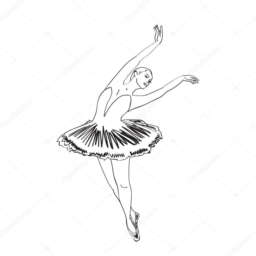 1024x1024 Sketch Of Dancing Ballerina Stock Vector Julija Grozyan