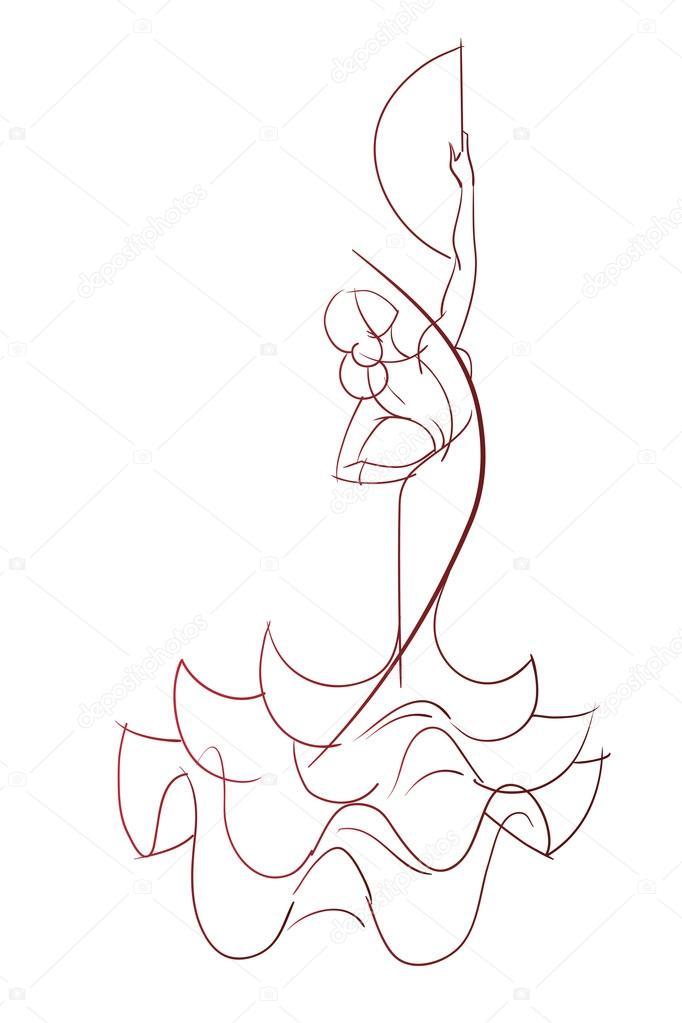 682x1023 Gesto Pose Expresivo Dibujo De Flamenco Dancer Vector De Stock