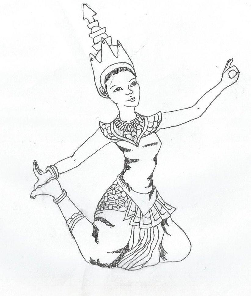 822x971 Thai Dancer Line Art By Cujiib101