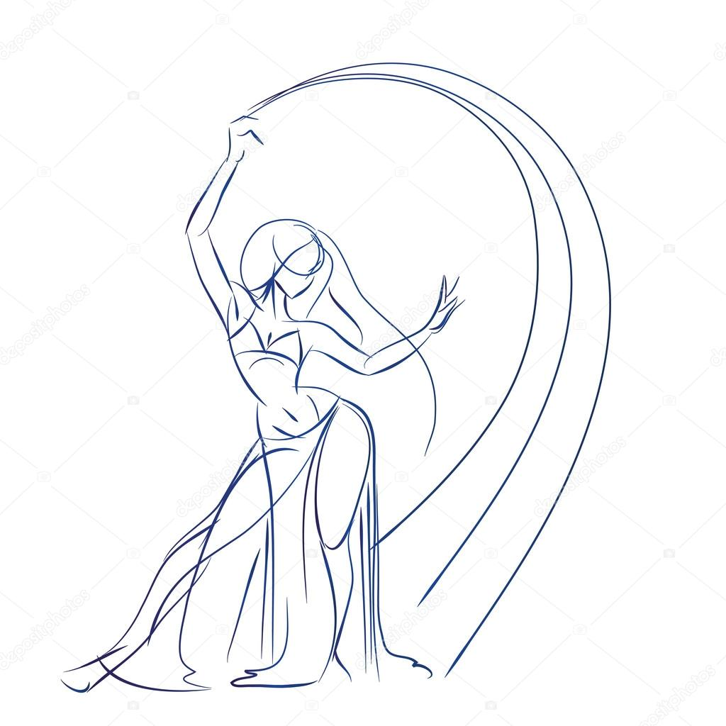 1024x1024 Belly Dancer Figure Gesture Sketch Line Drawing. Stock Vector
