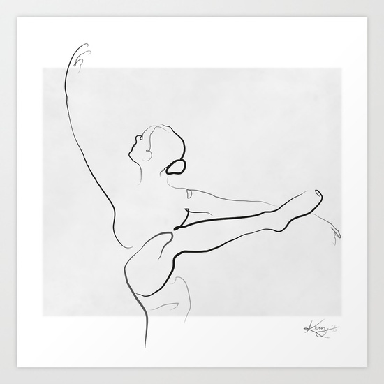 550x550 Dancer Line Drawing Art Print By Kerrykg Society6