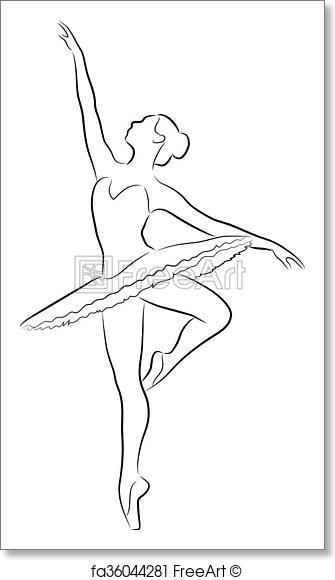 335x580 Free Art Print Dancing Ballerina. The Purest Black Lines