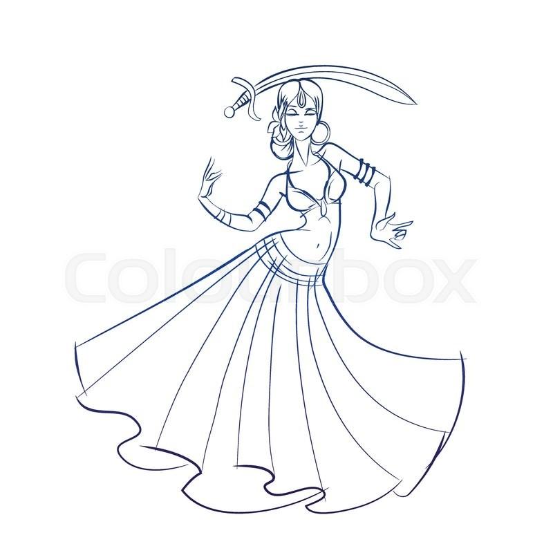 800x800 Gesture Sketch Line Drawing Of Belly Dancing Woman Stock Vector