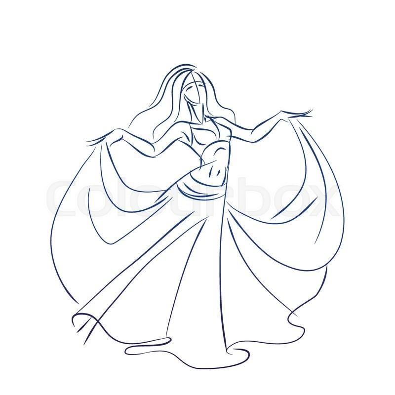 800x800 Line Ink Style Sketch Figure Gesture Drawing Of Belly Dancer