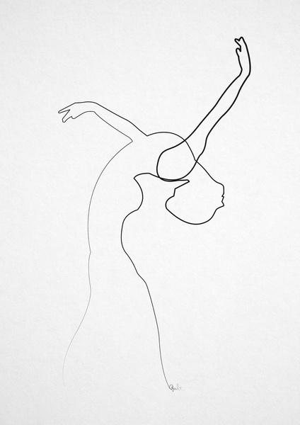 424x600 One Line Dancer Art Print Dance Or Death Dancers