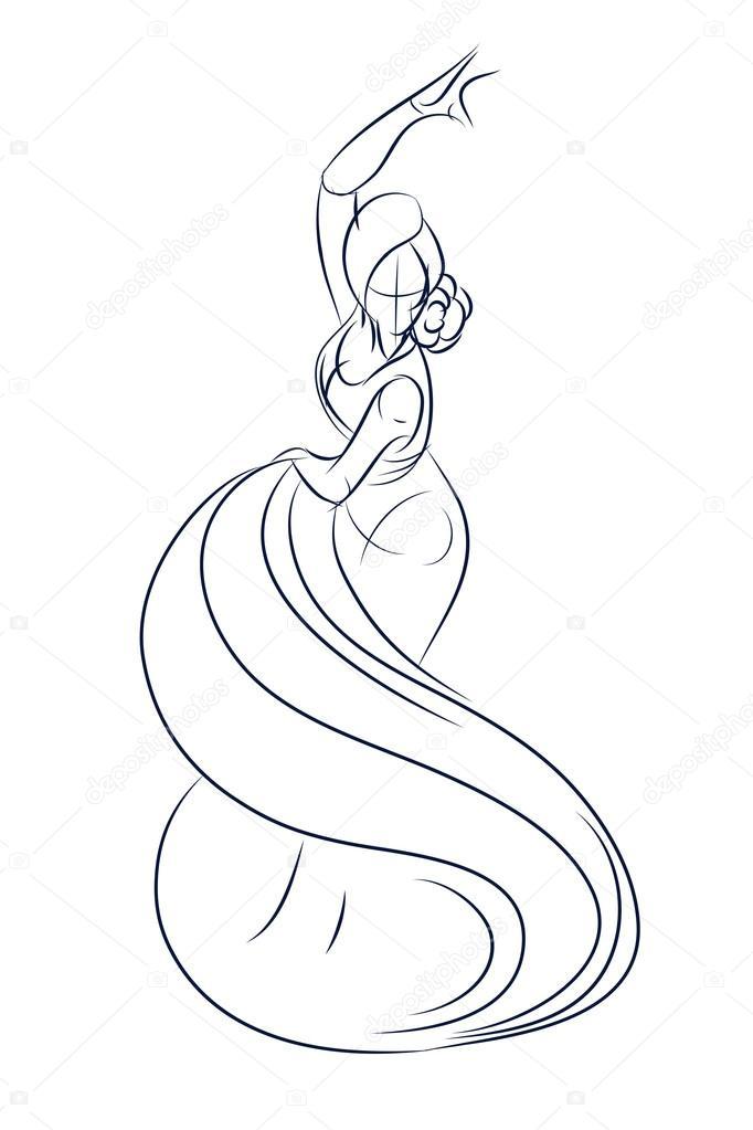 682x1023 Flamenco Gypsy Dancer Ink Sketch Gesture Drawing Stock Vector