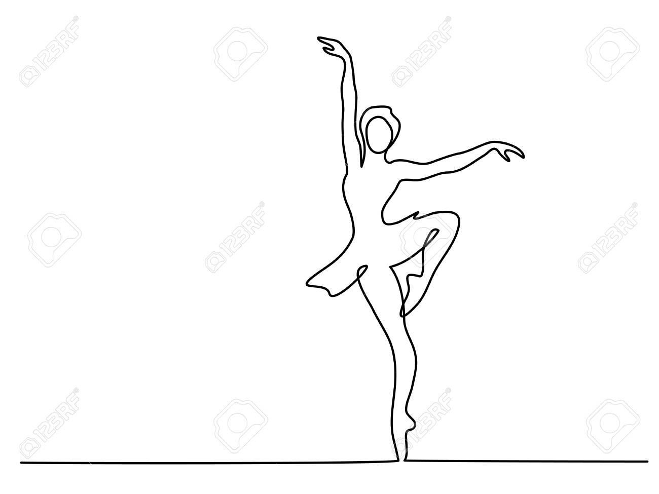 1300x975 Continuous Line Art Drawing. Ballet Dancer Ballerina. Vector