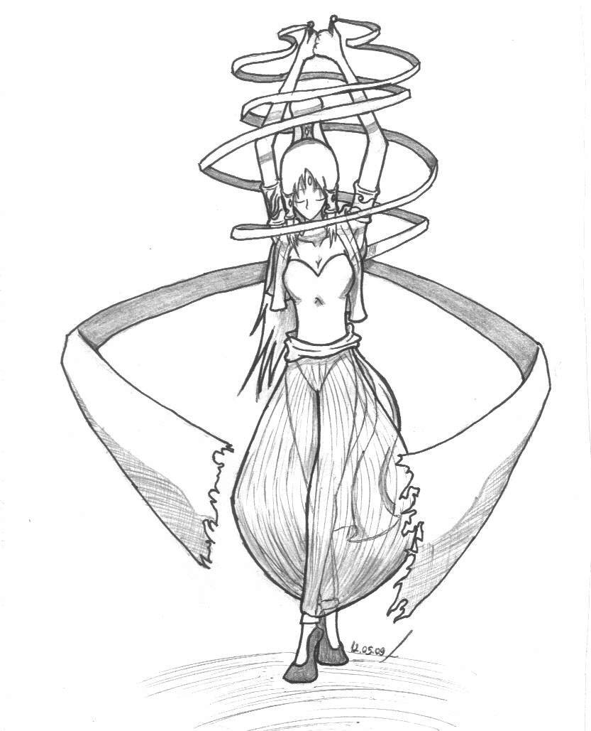 833x1029 Indian Female Ribbon Dancer By Leotao
