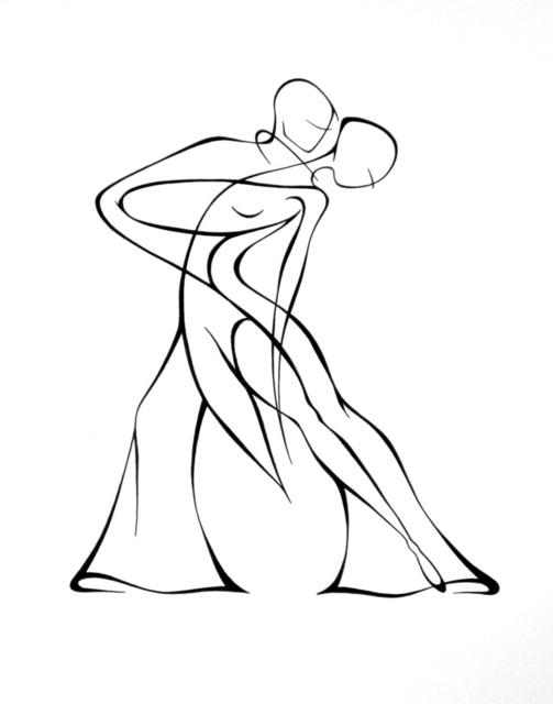 503x640 Lyudmila Kogan Artwork Dancers Original Drawing Pen Abstract