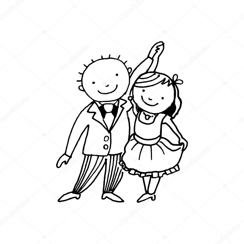 1023x1023 Dancing Couple, Black White Vector Illustration Doodle Sketch