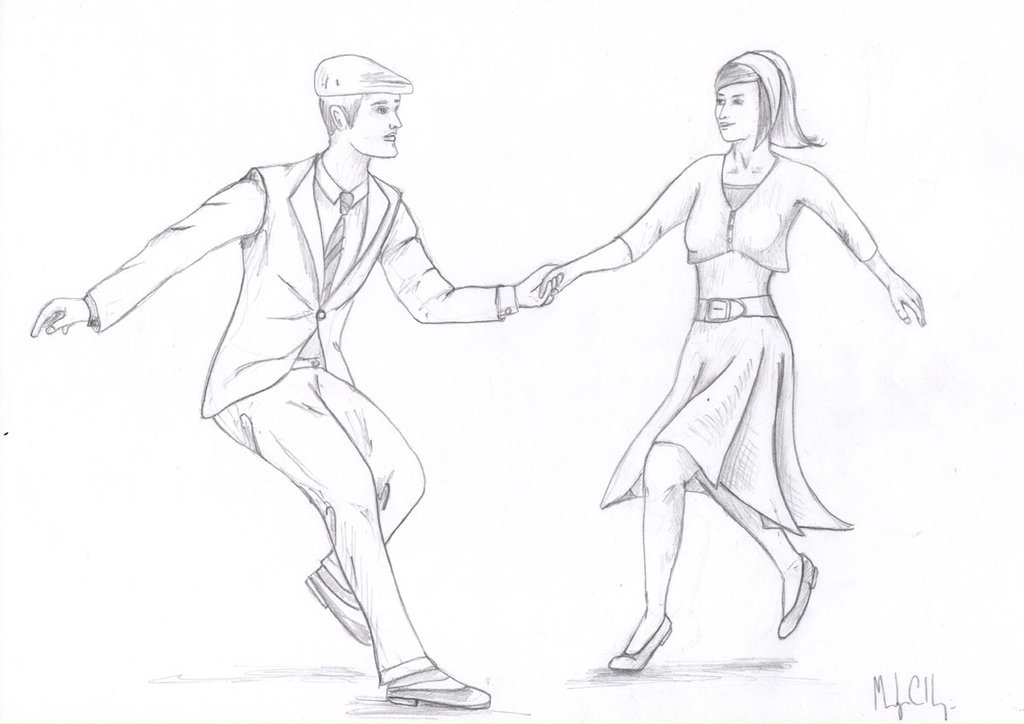 1024x724 Swing Dancing Couple Sketch