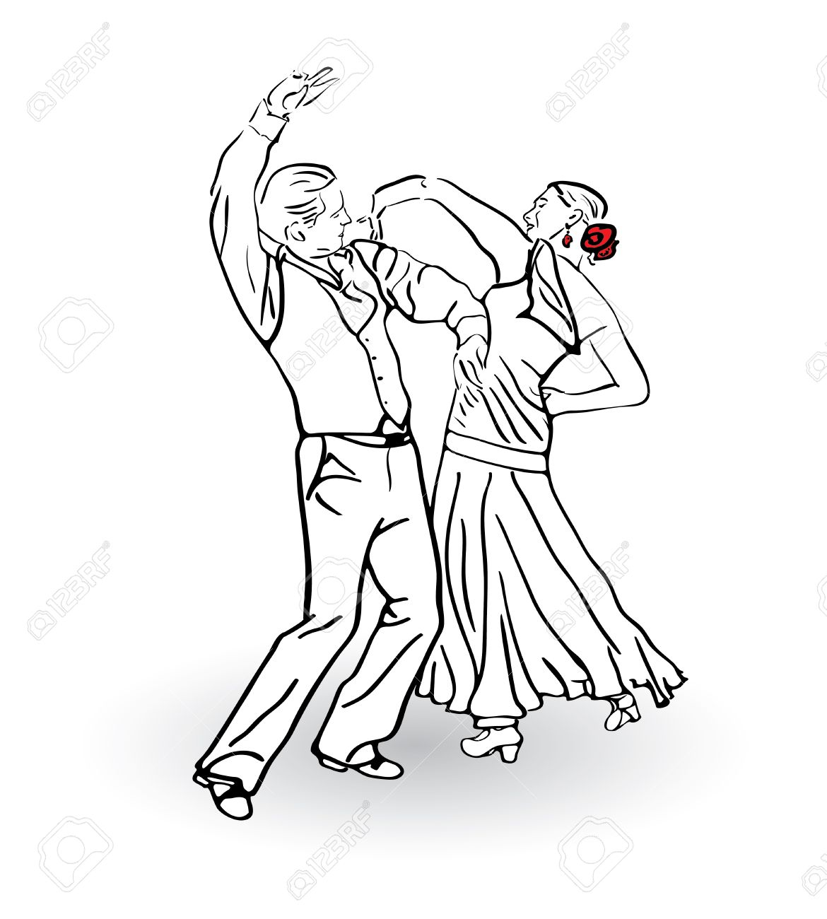 1170x1300 The Man And The Woman Dance A Tango Couple Dancing Sketch Concept