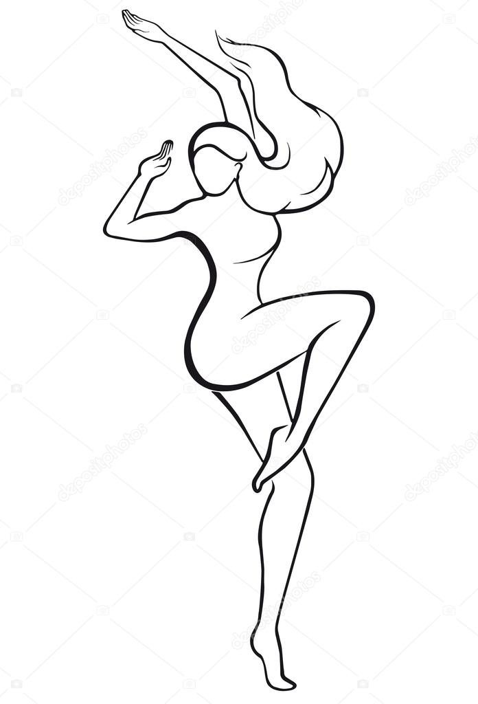 696x1024 Silhouette Of A Dancing Girl. Stock Vector L.grape