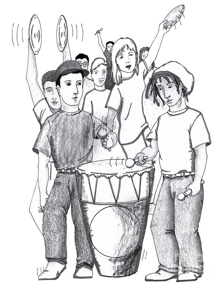 714x900 Rhythms Drum Dancing People Drawing By Lee Serenethos