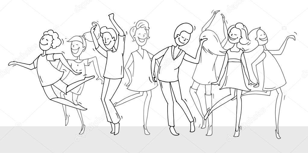 1022x510 Dancing People In Different Poses Stock Vector Sapunkele