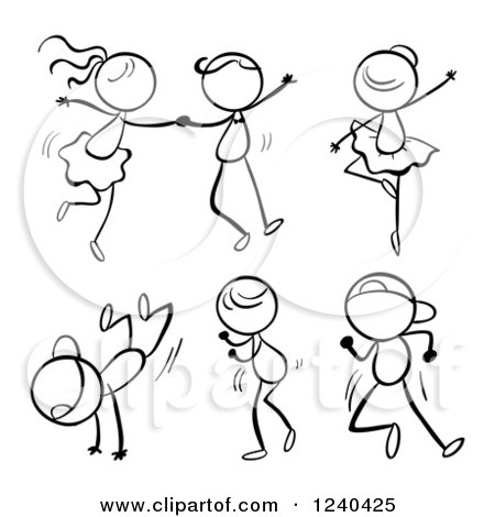 450x470 Clipart Of A Black And White Stick Children Dancing