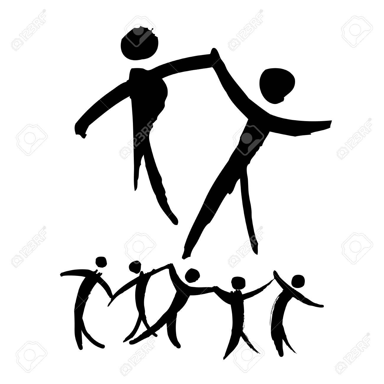 1300x1300 Dancing People Hand Drawn Illustration. Logo And Label Template