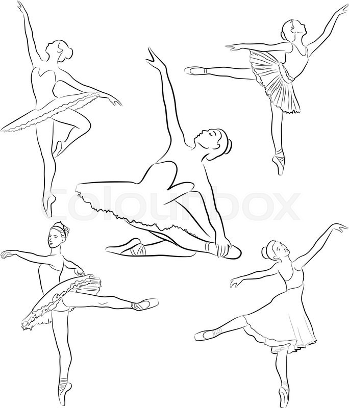 684x800 Vector Image Of Ballet Dancers In Various Poses Of Dance Stock
