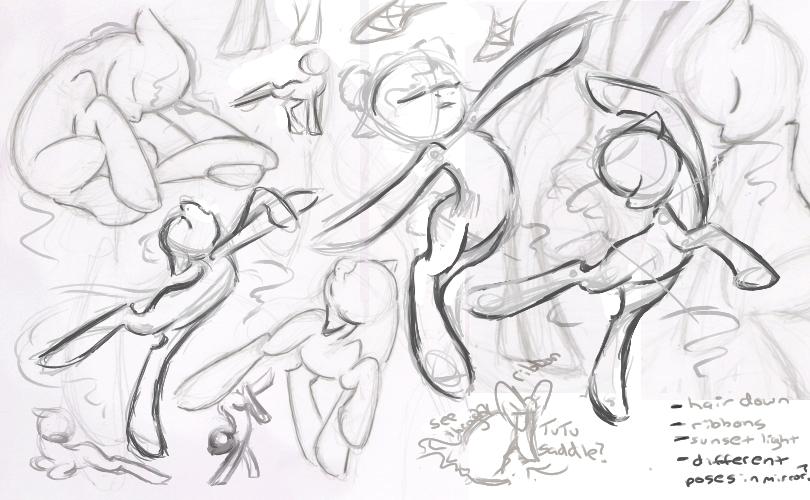 810x500 Ballet Pony Sketches By Littletiger488