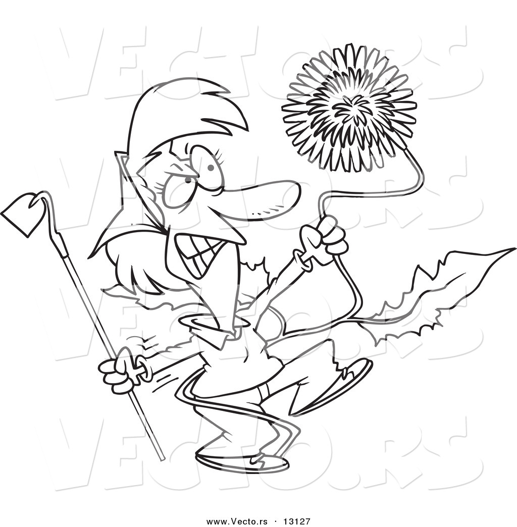 1024x1044 Vector Of A Cartoon Angry Woman Pulling A Giant Dandelion Weed