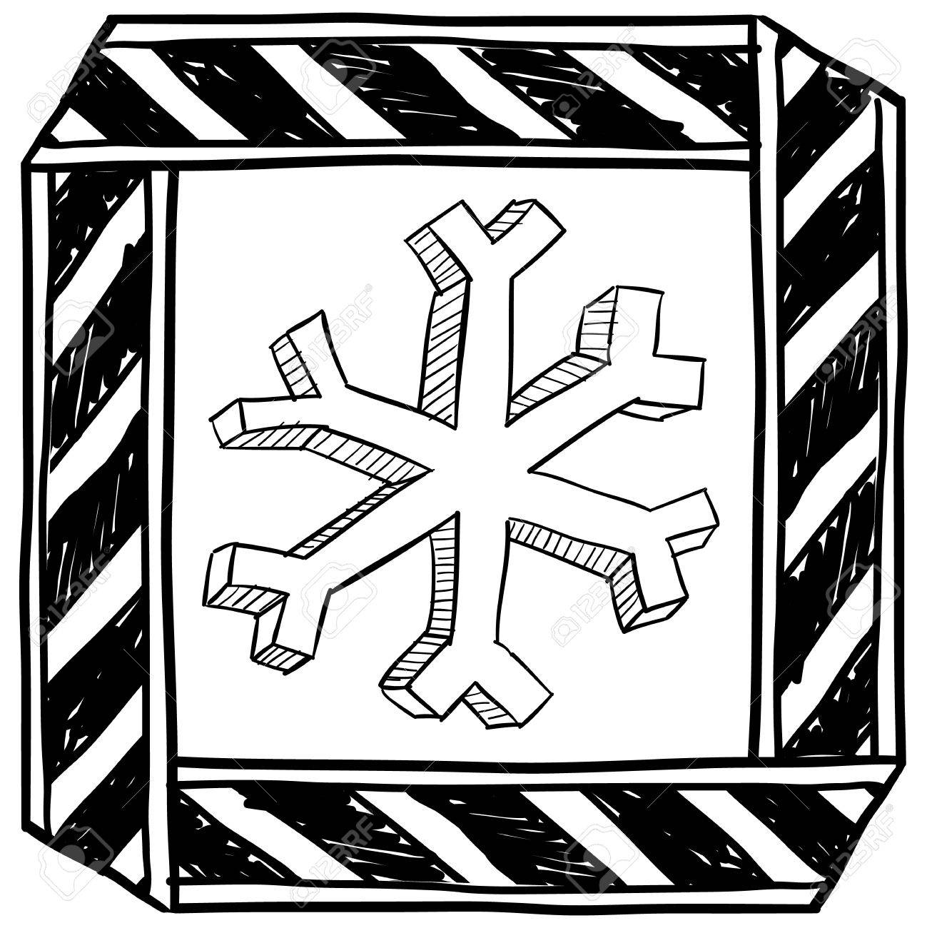 1299x1300 Doodle Style Danger Of Freezing Caution Sign Sketch In Vector