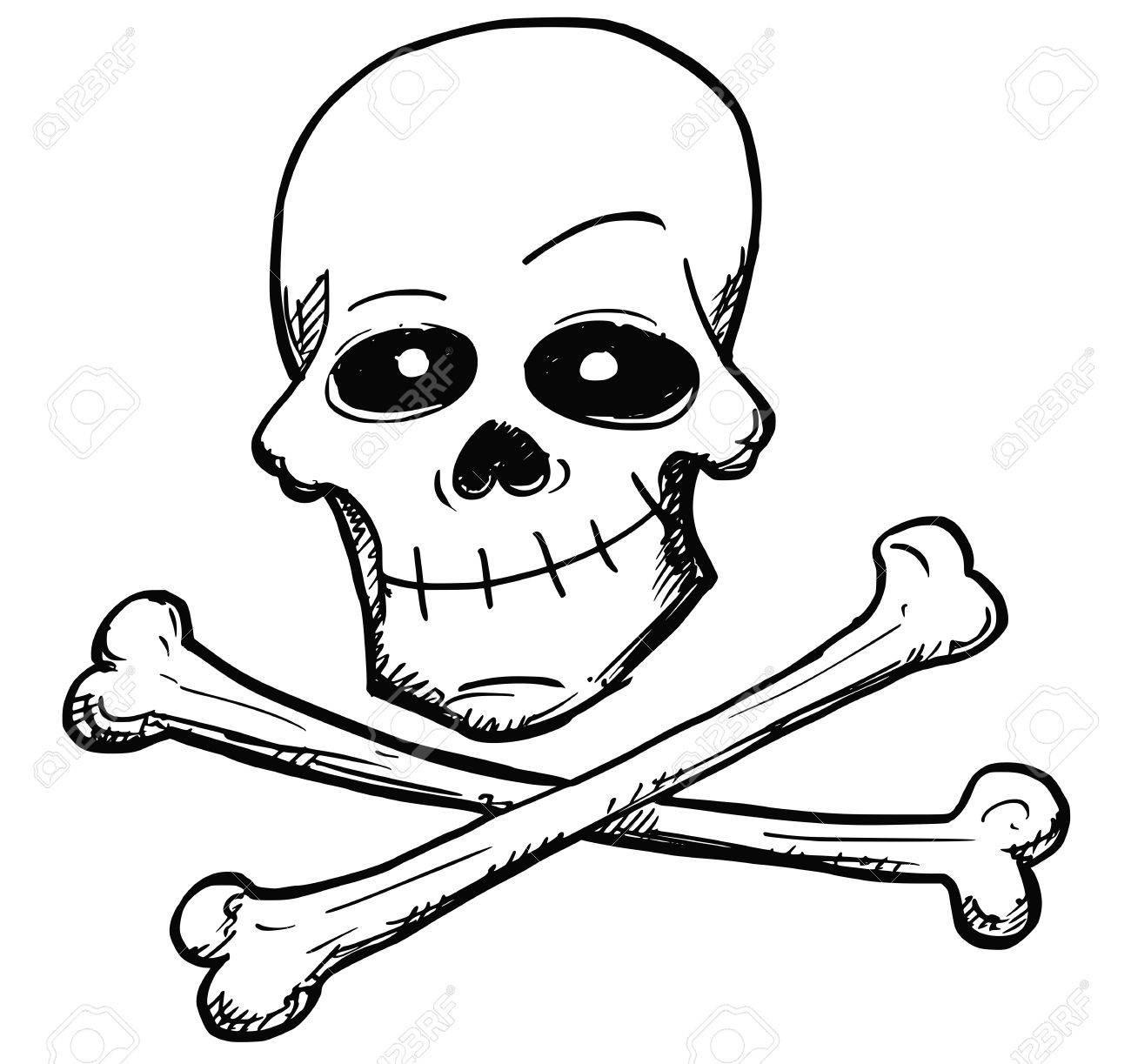 1300x1223 Vector Cartoon Of Danger Poison Or Pirate Sign Of Human Skull