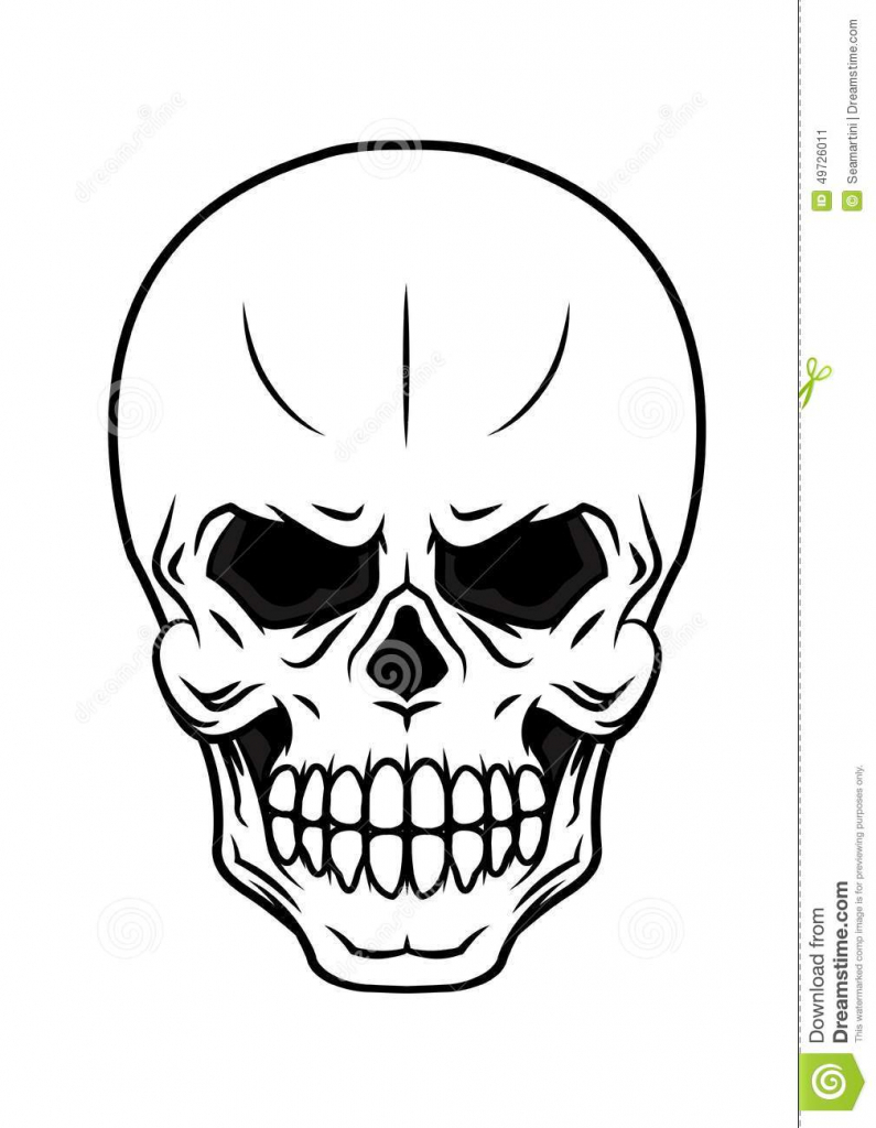 795x1024 Cartoon Skull Drawing Danger Cartoon Skull Stock Vector