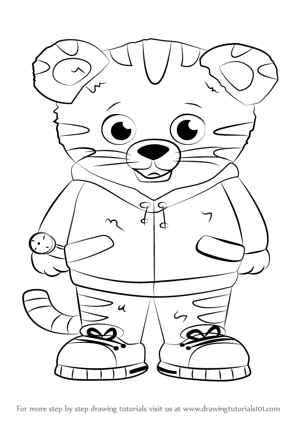 596x843 Learn How To Draw Daniel Tiger From Daniel Tiger's Neighborhood