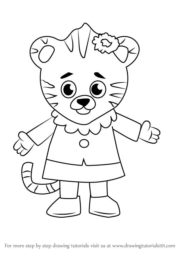 598x844 Learn How To Draw Margaret Tiger From Daniel Tiger's Neighborhood