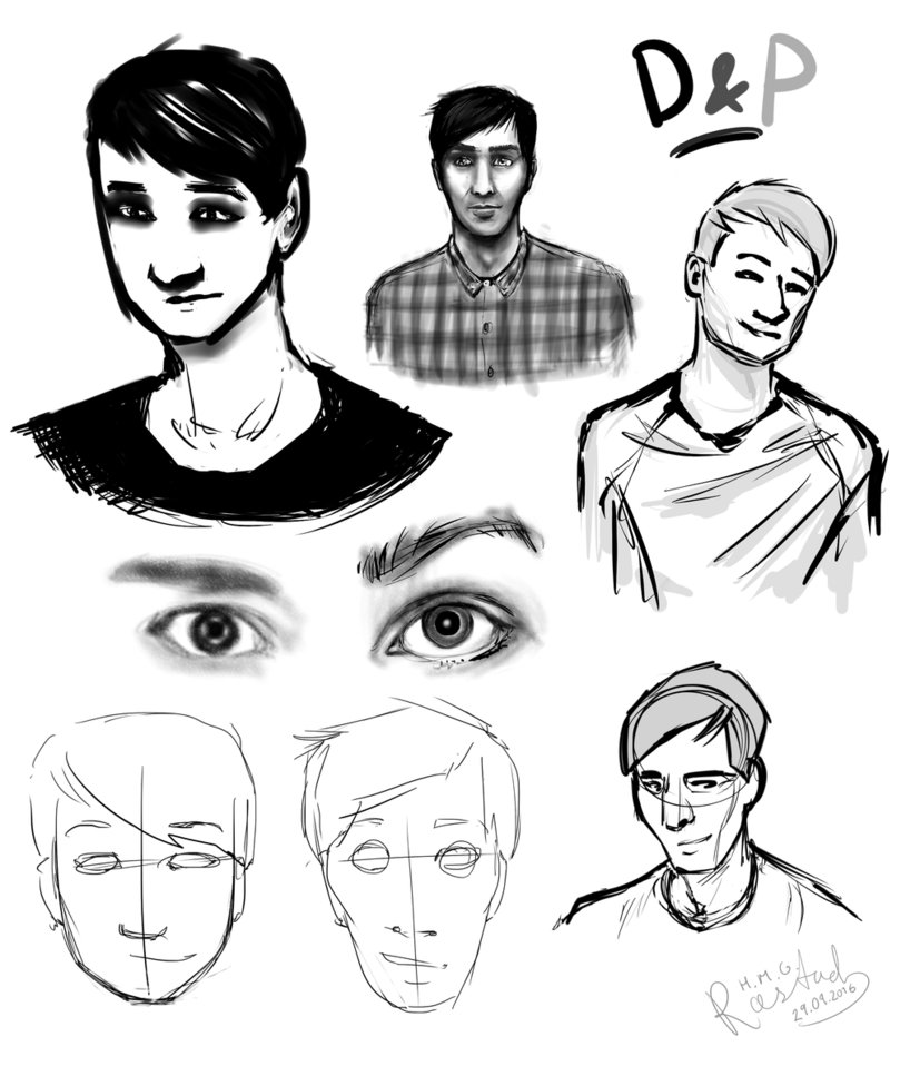 827x967 Dan And Phil Sketches Face Study By Martyoflungbarrow
