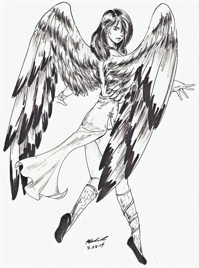 648x872 Dark Haired Angel Lineart By Sharem