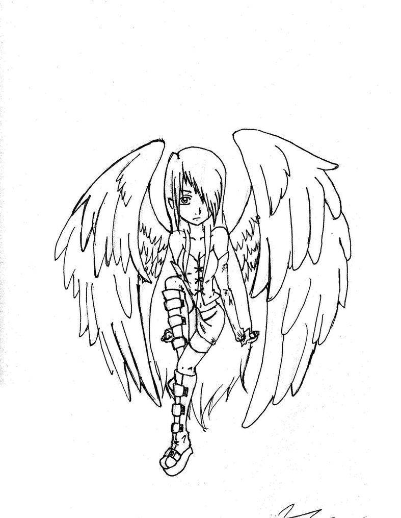 787x1015 Dark Angel Lineart By Silvahedgehog1013