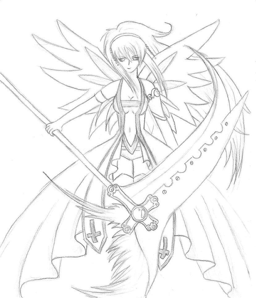 829x964 Fallen Angel Sketch By Anmanda
