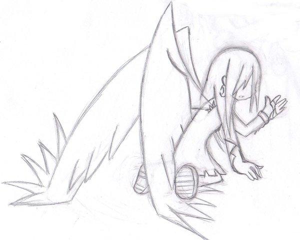 600x481 Sketch Fallen Dark Angel By Zafireblue
