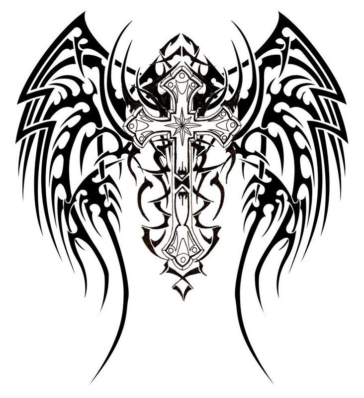 732x800 Collection Of Tribal Angel Wings Tattoo Design