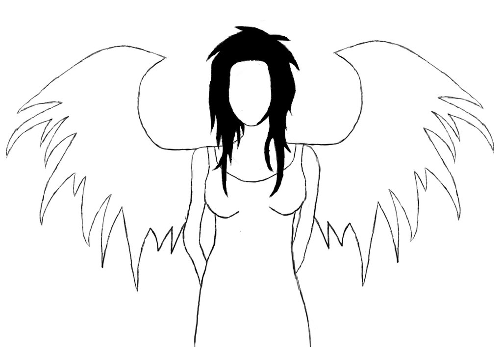 1024x708 Fallen Angel Clipart Outline