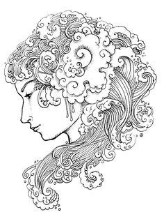 236x314 The Tempest Art Nouveau Sea Storm Mermaid Illustration By Shelley