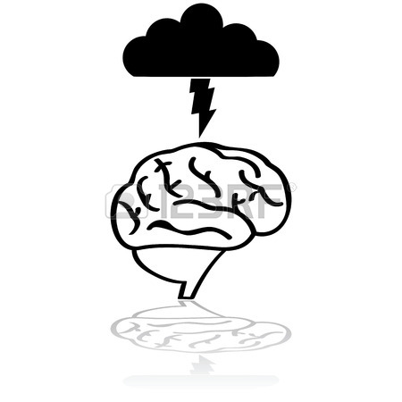 450x450 Cartoon Illustration Showing An Angry Dark Cloud With Lightning