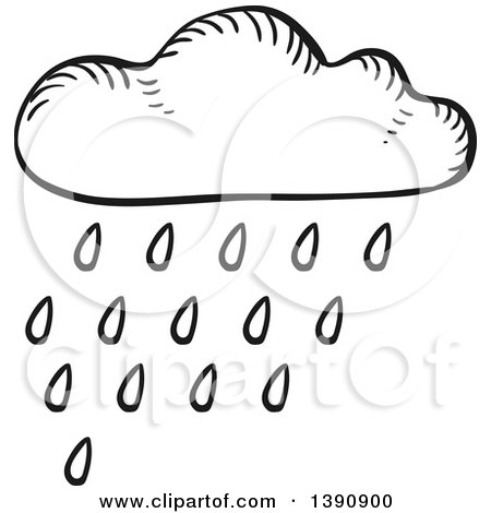 450x470 Clipart Of A Sketched Dark Gray Rain Cloud