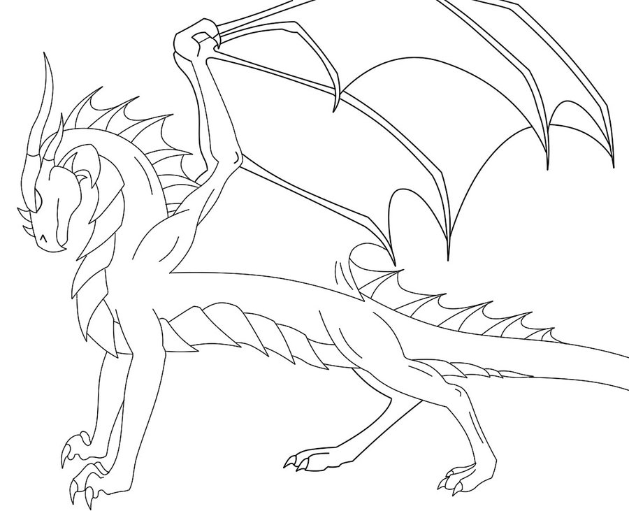 900x731 Dark Dragon Line Art By Firestormhorses
