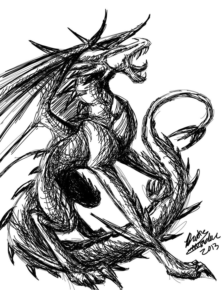 786x1017 Black And White Dragon By Silveraruka